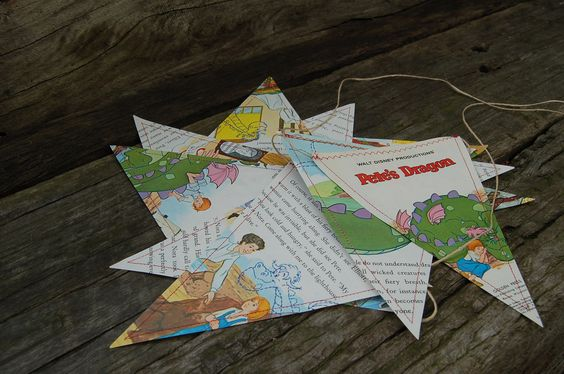Decorative Story Bunting Pete's Dragon Little Golden by AquaLace