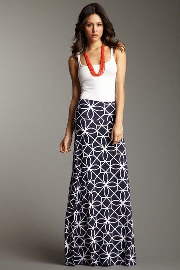 maxi skirt with tank and bright necklace