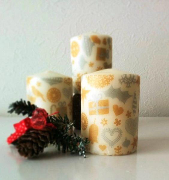 クリスマスらしい柄のキャンドル3本セット|hinashi