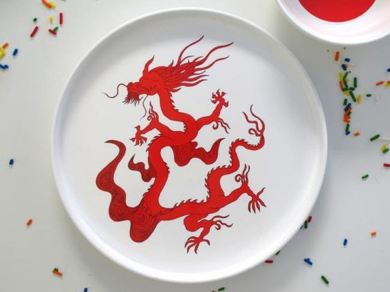 Red Dragon Plate by Smiling Planet #Plate #Dragon #Smiling_Planet: