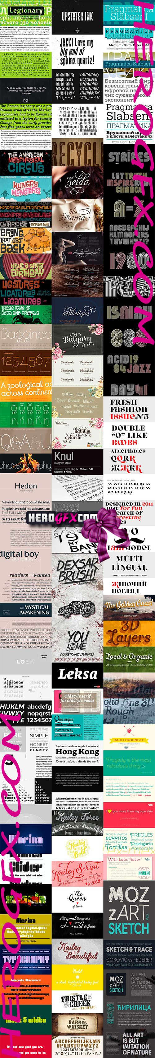 Bundle Set Font Family - HeroGfx Pack 6 Fonts 475$