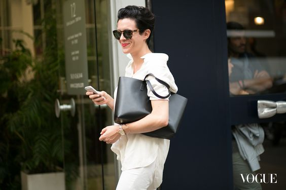 garance doré short hair white look black bag vogue heelsandpeplum