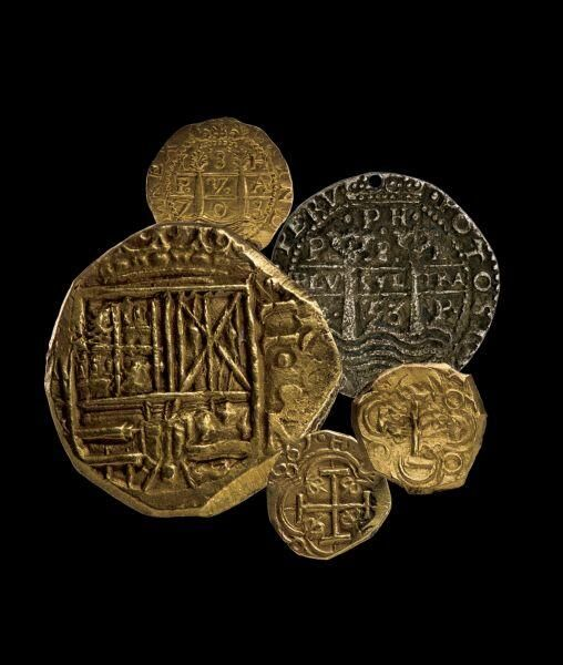 Gold and silver coins recovered from pirate ship