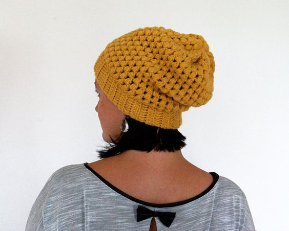 Slouchy Beanie Hipster Hat Slouch Unisex Crochet baggy by mareshop