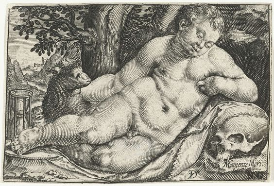 Zacharias Dolendo | Liggende putto met zandloper en schedel, Zacharias Dolendo, c. 1580 - c. 1601 |