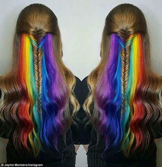 Women show off their hidden 'secret rainbow' hair colour on social ...
