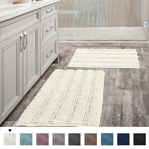 Set Of 2 Super Thick Soft Striped Shaggy Chenille Bath Mats Machine Washable Bath Rugs Set In 2020 Chenille Bath Mat Bath Rugs Sets Washable Bath Rugs