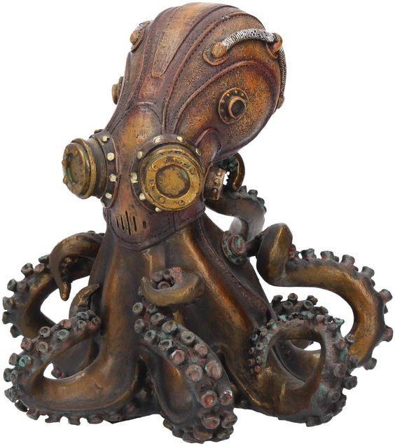Nemesis Now Dekofigur Octo-Steam Steampunk Octopus Figur In feinstem Harz gegossen. Sorgfältig handbemalt. *enthält Affiliate Links