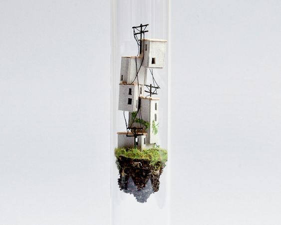 A tiny twist on miniature architecture turns simply-crafted models into hovering micro-habitats, suspended in test tubes like the science experiment of some mad architect. Micro Matter is an ongoin…