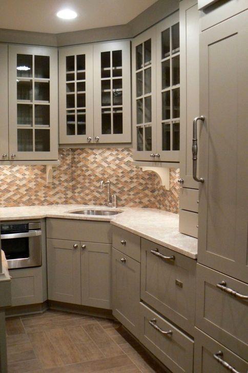40 Lovely Corner Kitchen Sink Design Ideas For Small Spaces To Try Corner Sink Kitchen Corner Kitchen Cabinet Kitchen Sink Decor