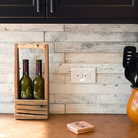 Wood Tile Kitchen Backsplash: Boardwalk Pattern White Wash