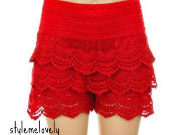 Girls Red Crochet Lace Shorts | Fashion | Pinterest | Shorts ...