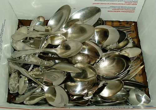 130 + Piece Lot FLATWARE Scrap Jewely Making Spoons Forks Vintage Silver Plate