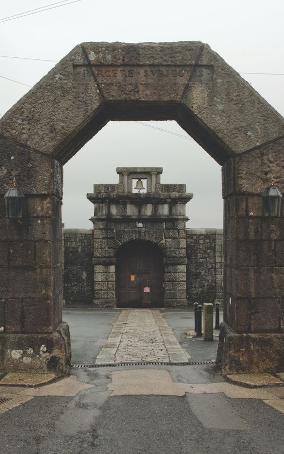 The entrance gate to HMP Dartmoor, photographed in January 2017