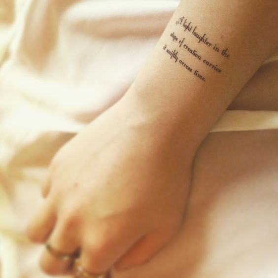 Tagore's poem  temporary tattoo sticker on wrist