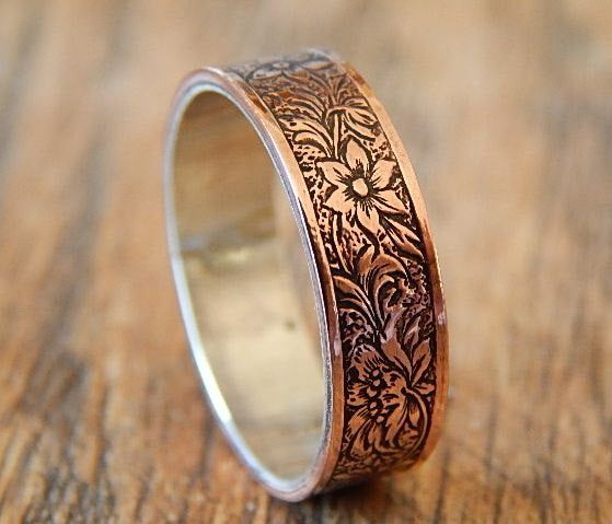 Antiqued Floral Silver Copper Men S Wedding Ring Etsy In 2020 Wedding Rings For Women Rings Mens Wedding Bands Mens Wedding Bands