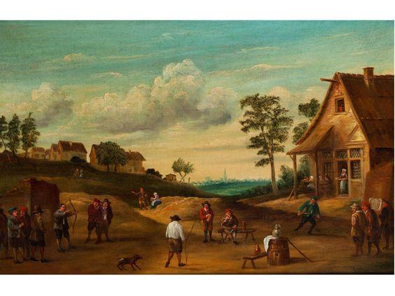 DER BOGENSCHÜTZENWETTBEWERB Öl auf Leinwand. 65 x 99 cm. Mehrere Männer haben sich vor einem Gasthaus versammelt und üben sich im Bogenschießen. Ein...