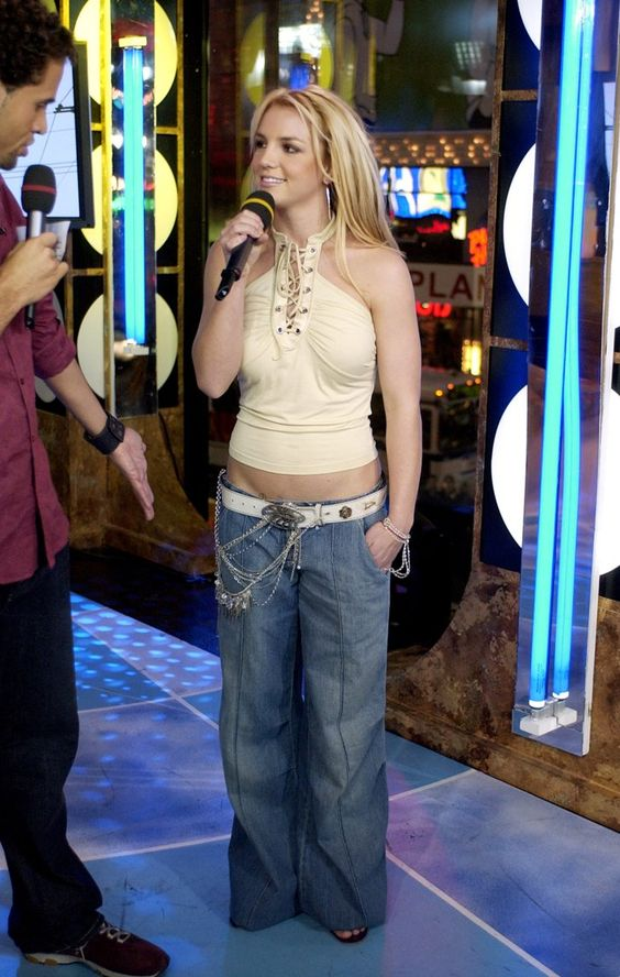 Pin for Later: The Ultimate TRL Time Machine  Britney Spears rocked some (really) wide-leg jeans on the show in 2003.