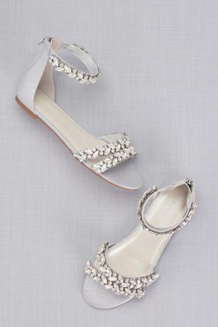 Jeweled Metallic Ankle Strap Flat Sandals David S Bridal Ankle Strap Sandals Flat Bridal Sandals Bridal Shoes Flats