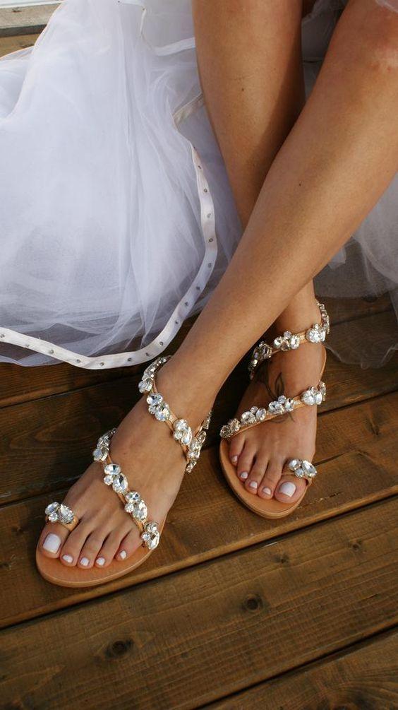 sandale de mariage plate avec des strass