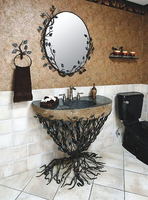 Vanity Features Aspen forged iron bathroom vanity with integrated boulder  sink Aspen Collection Available in several. Smallest Bathroom Sink Available
