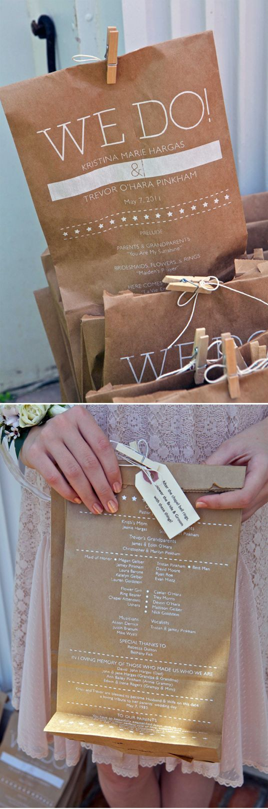 Wedding program printed on brown bags filled with confetti to toss at the married couple.