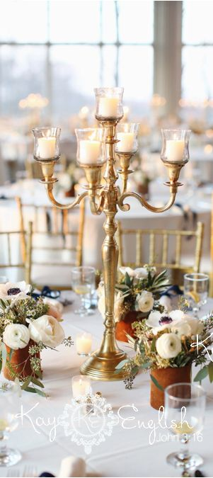 Candlelight romance wedding gold candelabra and local