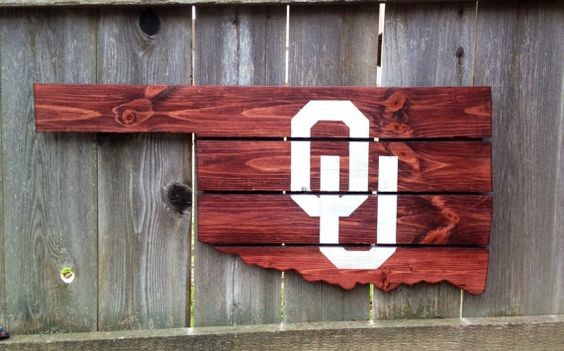 This jigsawed Oklahoma is handmade out of upcycled pallets. The unique upcycled pallet boards are stained in deep red with the OU logo painted on