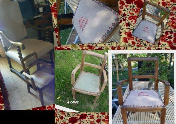 Petit fauteuil d'enfant chiné retapé