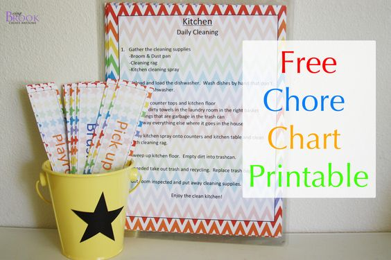 Free chore chart printable complete with an organization system.