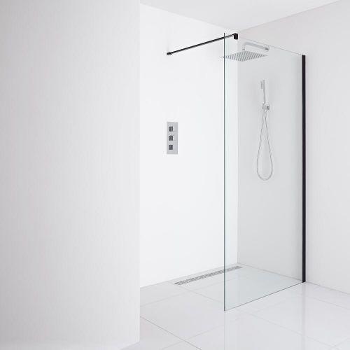 Nero Recessed Wet Room Shower Enclosure 900mm Glass Inc Drain