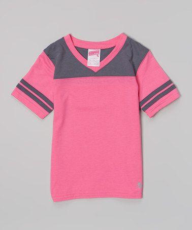 Look at this #zulilyfind! Pink Glo & Gunmetal Football Tee - Girls by Soffe #zulilyfinds