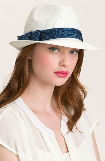 """$78.  classic—fedora.  Approx. brim width: 4 3/4"""".  Approx. inner circumference: 22"""".  .By kate spade new york;"""