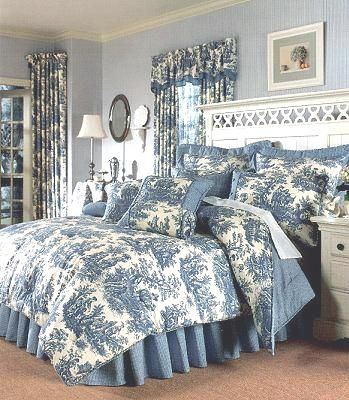 blue and white toile: