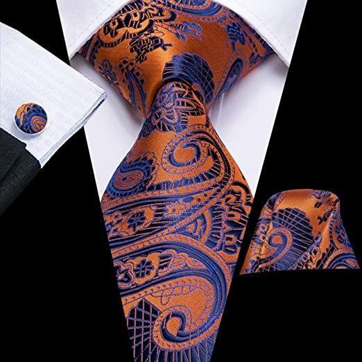 Orange Paisley Wedding Men Necktie Tie Set With Matching Cufflinks Hankerchief