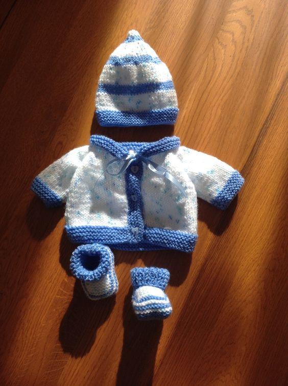Layette PREMA Brassière - Gilet 34 à 38 semaines Blanche et Bleue : Mode Bébé par coeur-de-layette