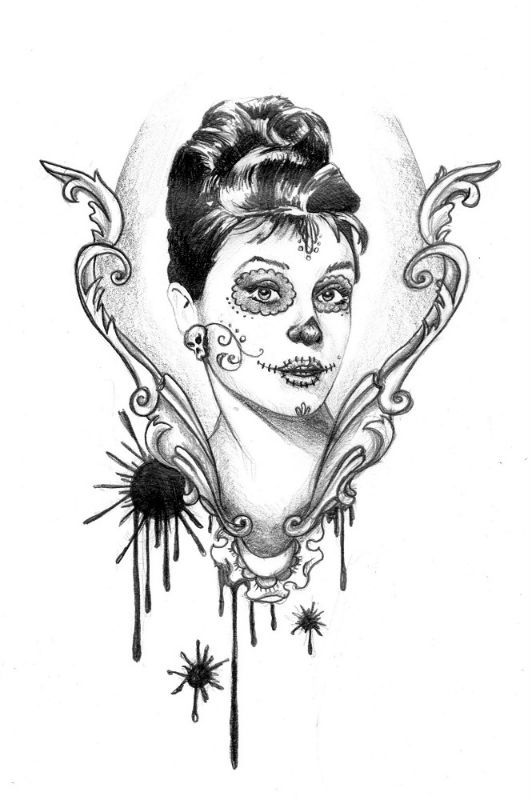 dessin pour tatouage d 39 un portrait de calavera de audrey hepburn dessin pinterest portrait. Black Bedroom Furniture Sets. Home Design Ideas