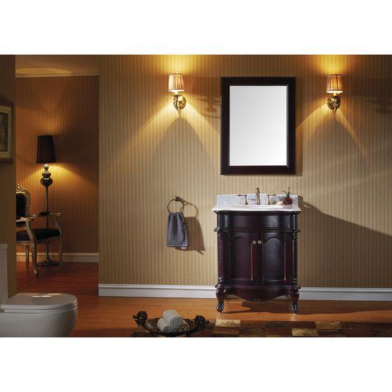 "Virtu USA 30"" Norhaven Single Round Sink Bathroom Vanity In Espresso With Italian Carrara Marble Top"