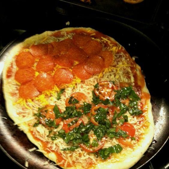 Half tomato and basil and half pepperoni!