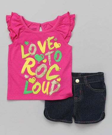 This Pink Graffiti 'Love to Roc' Tee & Shorts - Infant & Toddler is perfect! #zulilyfinds