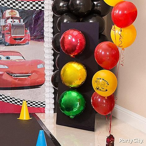 Ready set go to create this diy stoplight tape two for Balloon decoration cars theme