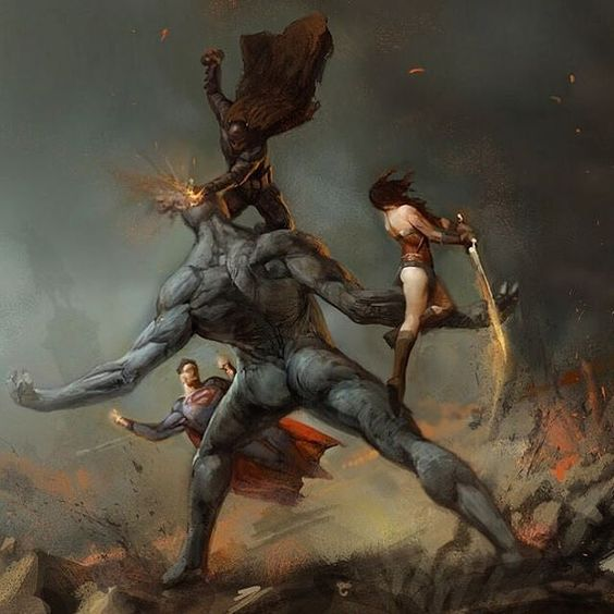 The Trinity v Doomsday #batmanvsuperman concept art by Vance Kovacs by umbertogonzalez