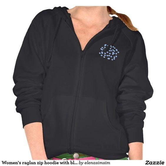 Women's raglan zip hoodie with blue polka dots