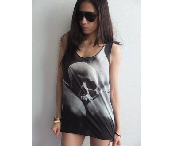 Skull Strong Like Stone Goth Punk Rock Tank Top