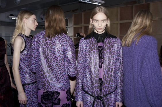 Christopher Kane F/W 2012.    Update florals and animal prints with chunky knits and a burst of Lavender.