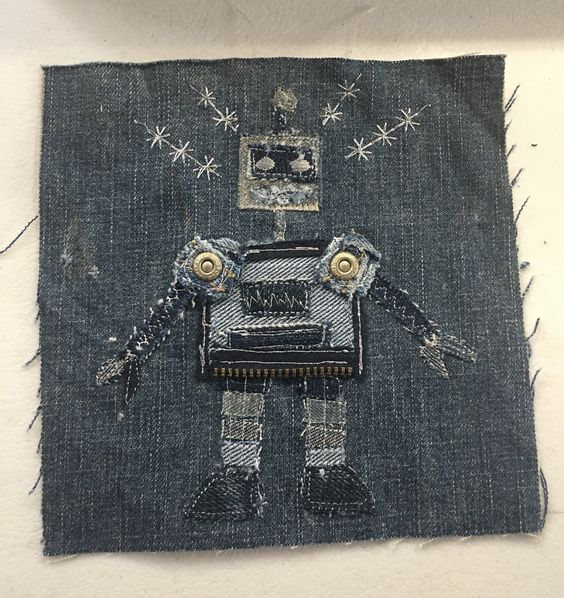 Upcycled repurposed Blue Denim art robot boys quilt square