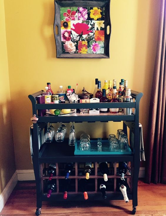 Upcycled changing table turned into Bar Cart. Functional again after babies are no longer babies.