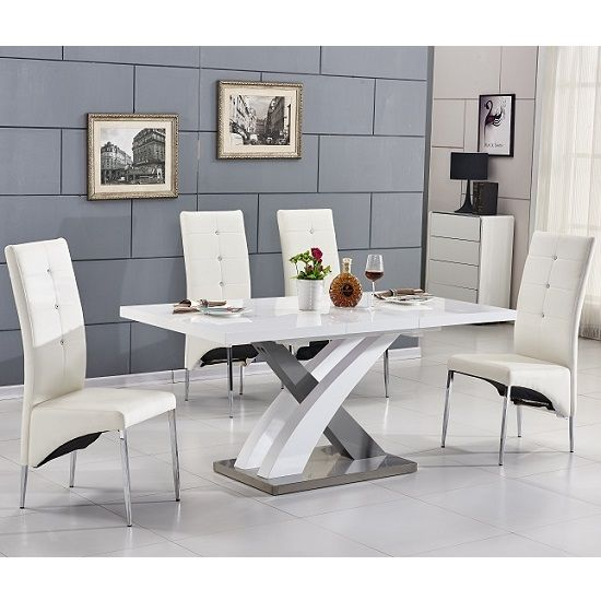 Axara Small Gloss Extendable Table White Grey With 4 Chairs