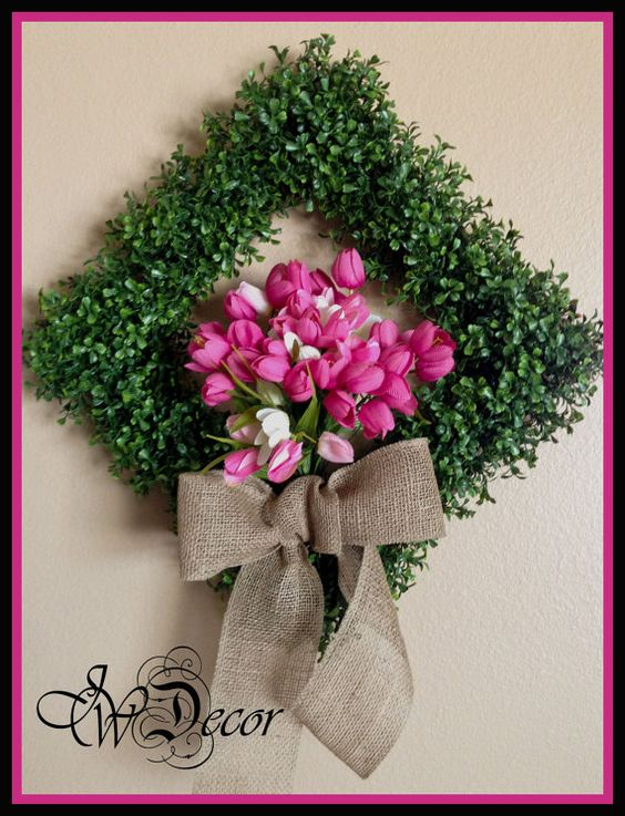Boxwood Wreath Spring Pink Tulips Burlap Bow by JWDecor on Etsy, $79.00: