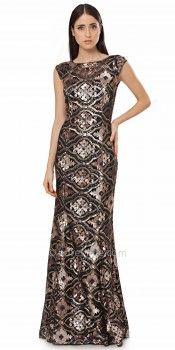 Bronze Quatrefoil Sheath Evening Dress by JS Collections